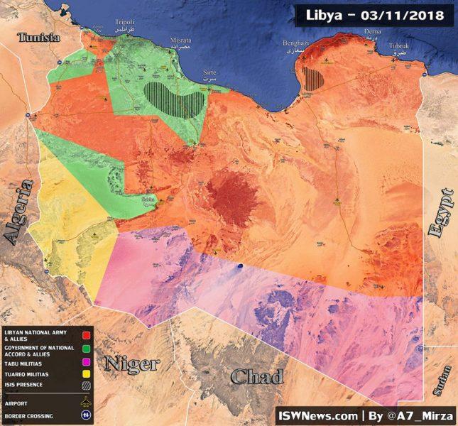 Карта Ливии с зонами контроля