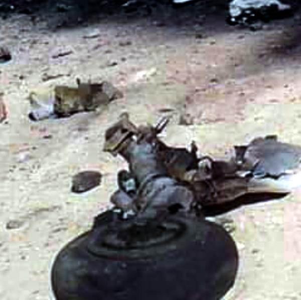 Передняя стойка шасси сбитого МиГ-21.