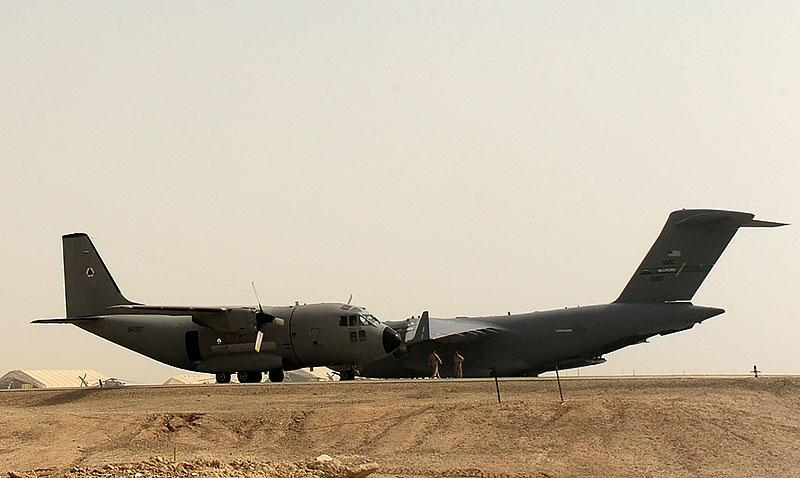 C-27A Spartan and USAF C-17A Globemaster III