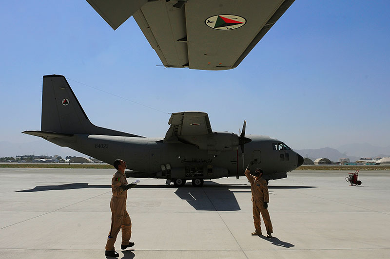 Pre-flight check of Afghanistan Air Force C-27A Spartan