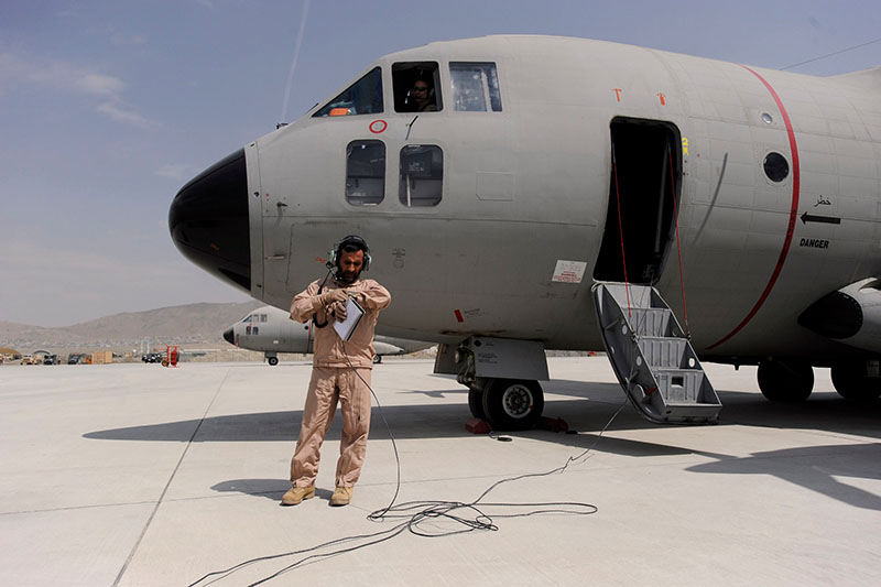Afghanistan Air Force C-27A pre-flight check