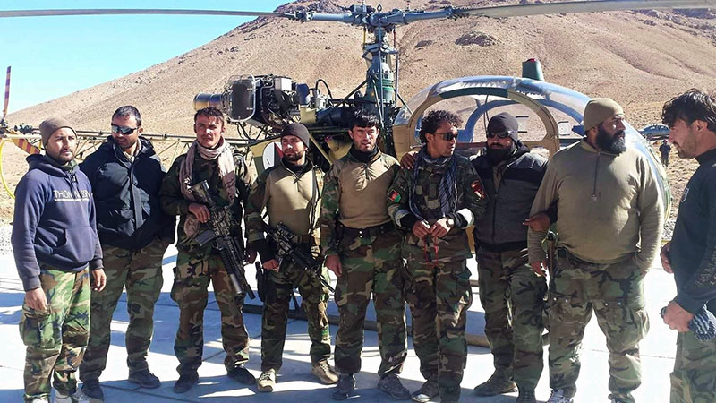 Afghan Special Forces near HAL Cheetah of Afghanistan Air Force