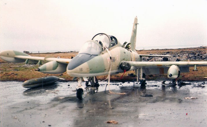 Argentine Aermacchi MB-339A 4-A-116 with yellow bands on lower wings surfaces
