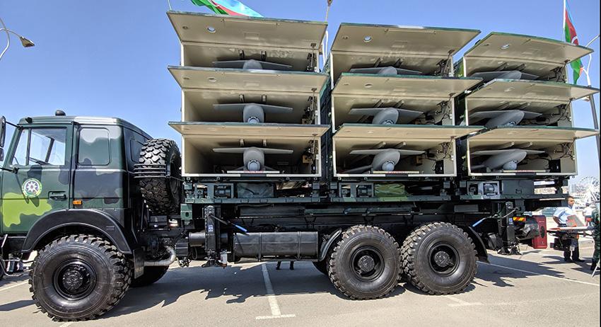 Пусковая установка Harop со всеми открытыми контейнерами