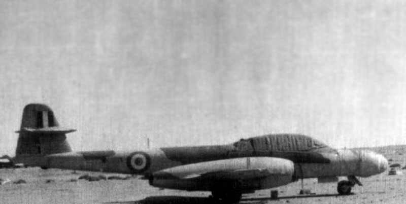 Egyptian Gloster Meteor NF-13 at airfield