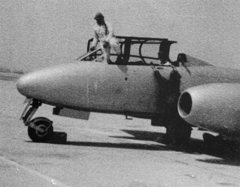 Egyptian pilots at cocpit of Meteor T-7