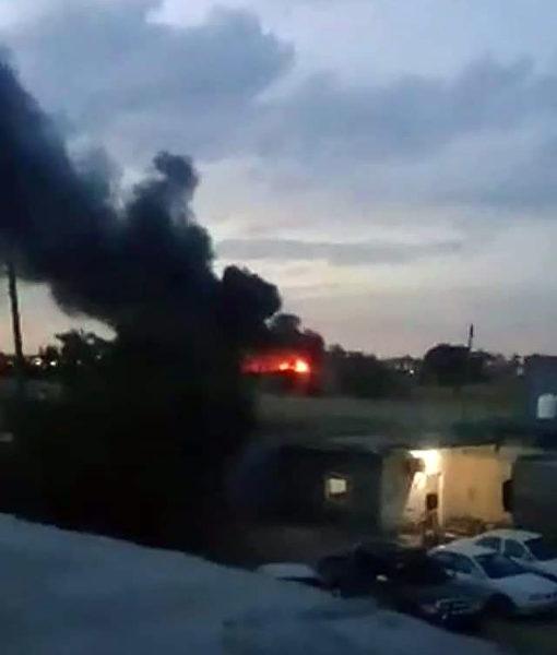 Скрин с видео с горящим объектом