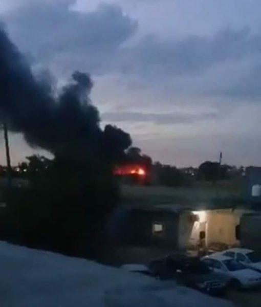 Якобы горящие обломки L-39